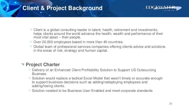 Client & Project Background Client is a global consulting leader in talent, health, retirement and investments; helps clie...