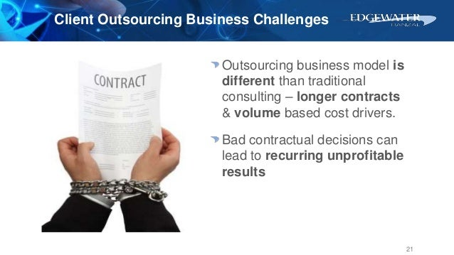 Client Outsourcing Business Challenges Outsourcing business model is different than traditional consulting – longer contra...