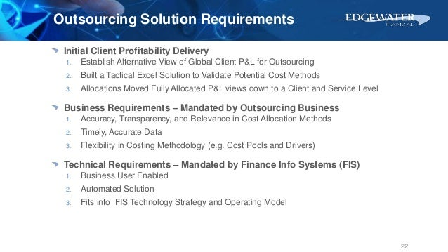 Outsourcing Solution Requirements Initial Client Profitability Delivery 1. Establish Alternative View of Global Client P&L...