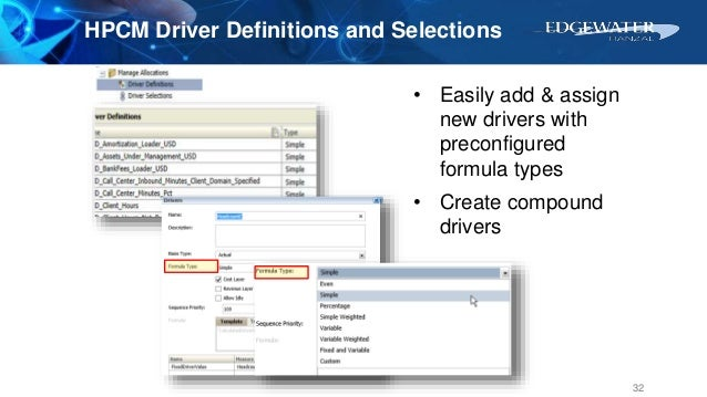 HPCM Driver Definitions and Selections 32 • Easily add & assign new drivers with preconfigured formula types • Create comp...