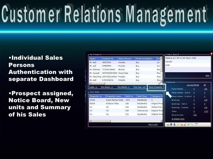 Customer Relations Management <ul><li>Individual Sales Persons Authentication with separate Dashboard </li></ul><ul><li>Pr...