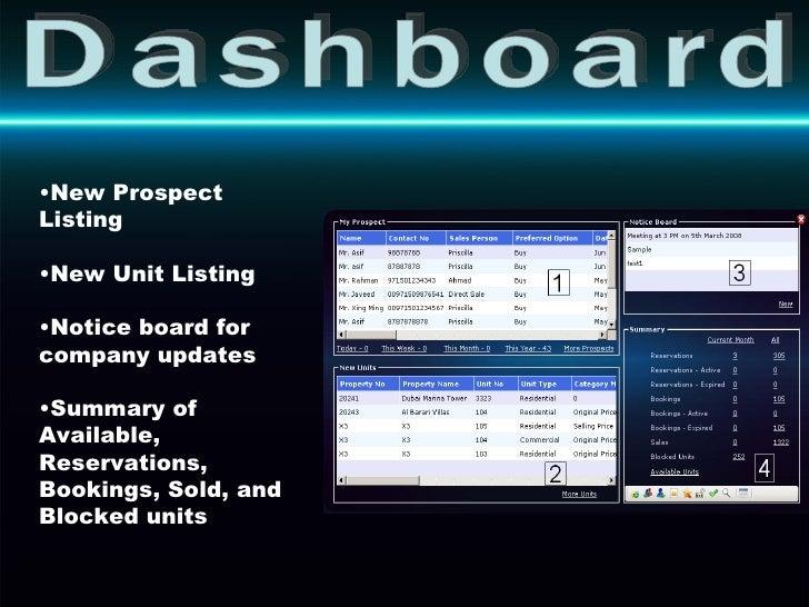 Dashboard <ul><li>New Prospect Listing </li></ul><ul><li>New Unit Listing </li></ul><ul><li>Notice board for company updat...