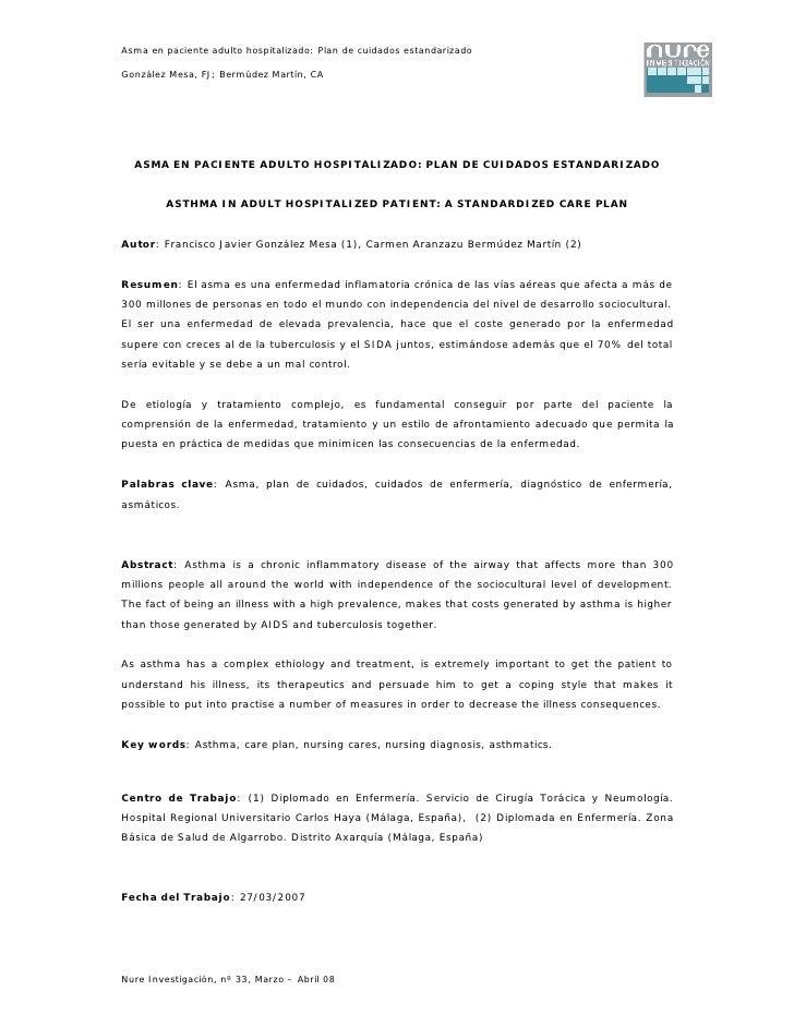 Asma en paciente adulto hospitalizado: Plan de cuidados estandarizado                               1 González Mesa, FJ; B...