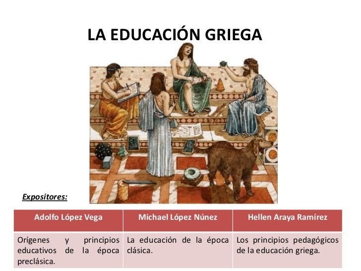 LA EDUCACIÓN GRIEGA Expositores:    Adolfo López Vega        Michael López Núnez       Hellen Araya RamírezOrígenes    y  ...