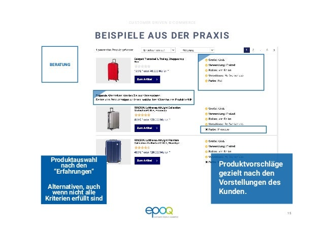 15  CUSTOMER DRIVEN E-COMMERCE BEISPIELE AUS DER PRAXIS Produktvorschläge gezielt nach den Vorstellungen des Kunden.  Prod...