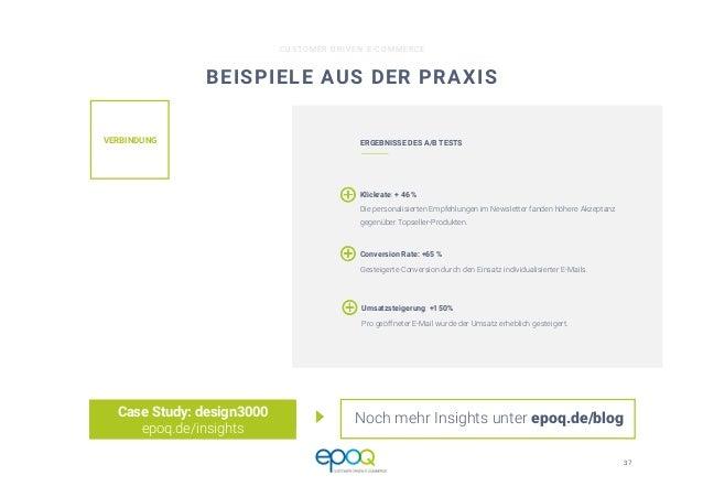 37  CUSTOMER DRIVEN E-COMMERCE BEISPIELE AUS DER PRAXIS Case Study: design3000 epoq.de/insights VERBINDUNG  ERGEBNISSE DES...