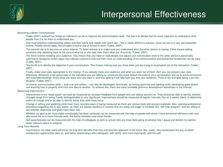 interpersonal effectiveness portfolio Interpersonal and communication capability was one of the most important capabilities i had strengthened throughout my degree developing such a capability greatly.