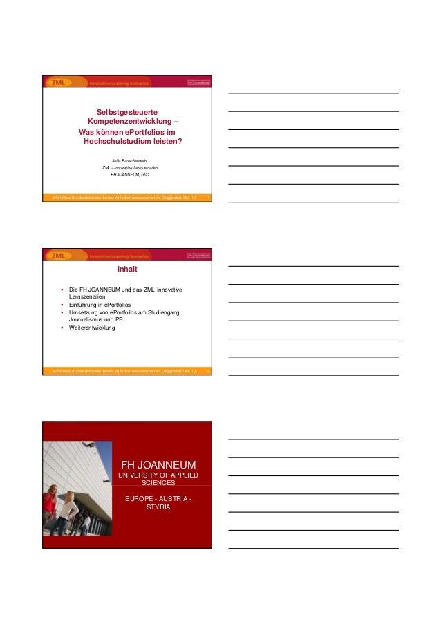 1ePortfolios, Bundesdekanekonferenz Wirtschaftswissenschaften, Deggendorf, Okt. 10 Selbstgesteuerte Kompetenzentwicklung –...