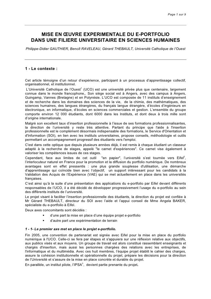Page 1 sur 9           MISE EN ŒUVRE EXPERIMENTALE DU E-PORTFOLIO    DANS UNE FILIERE UNIVERSITAIRE EN SCIENCES HUMAINES P...