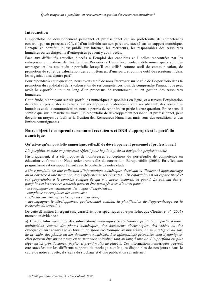 e-Portfolio2.0 :Quels usages du e-portfolio, en recrutement et gestion des ressources humaines? Slide 2