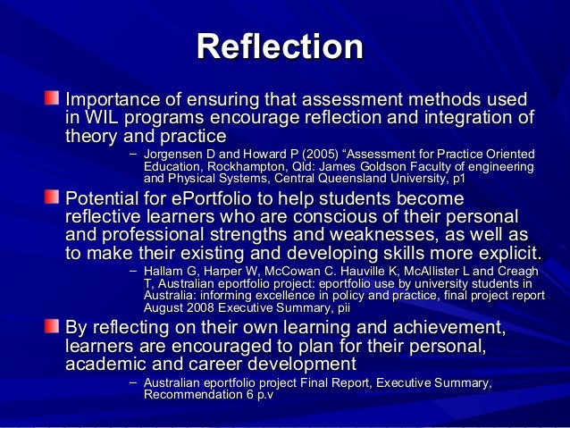 teaching and learning online reflection The relationship between time, experience, and expectations of learning through reflection is an important element of reflection, and to teach about reflection requires contextual anchors to make learning episodes meaningful.