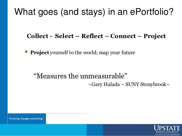 What goes (and stays) in an ePortfolio? Collect - Select – Reflect – Connect – Project • Project yourself to the world; ma...