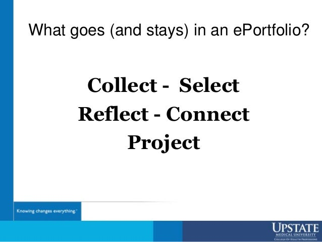 What goes (and stays) in an ePortfolio? Collect - Select Reflect - Connect Project
