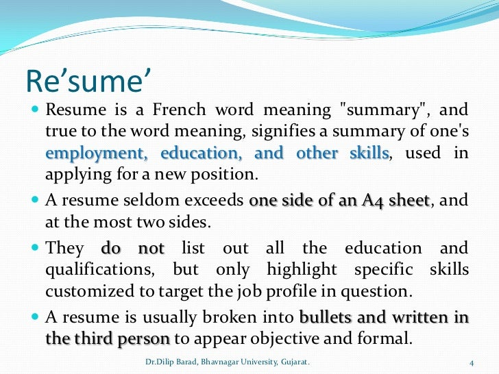 what is mean by resumes