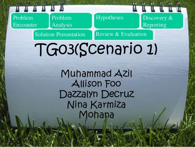 TG03(Scenario 1) Muhammad Azil Allison Foo Dazzalyn Decruz Nina Karmiza Mohana . Problem Encounter Problem Analysis Hypoth...