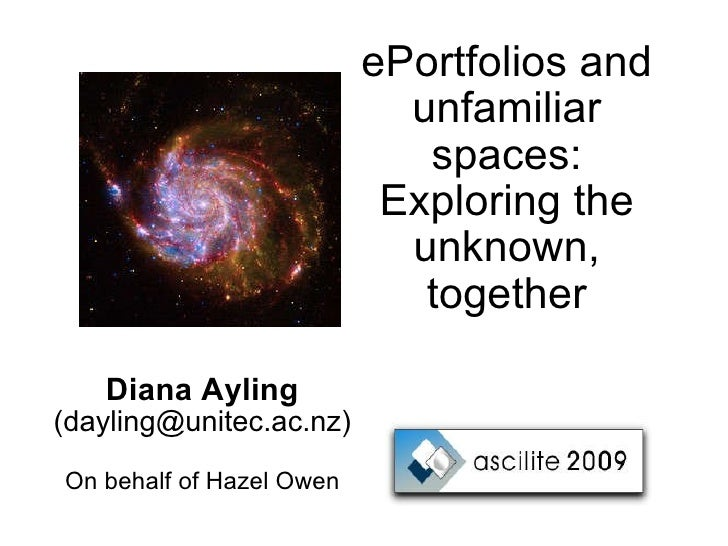 ePortfolios and unfamiliar spaces: Exploring the unknown, together Diana Ayling (dayling@unitec.ac.nz) On behalf of Hazel ...