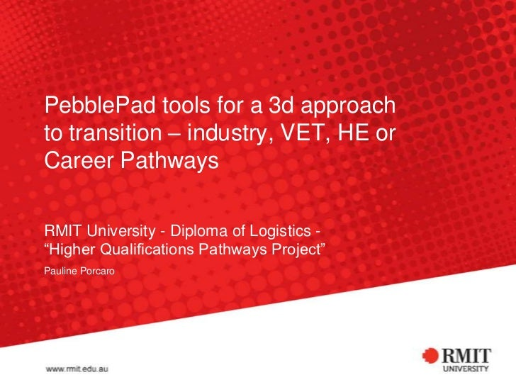 PebblePad tools for a 3d approachto transition – industry, VET, HE orCareer PathwaysRMIT University - Diploma of Logistics...