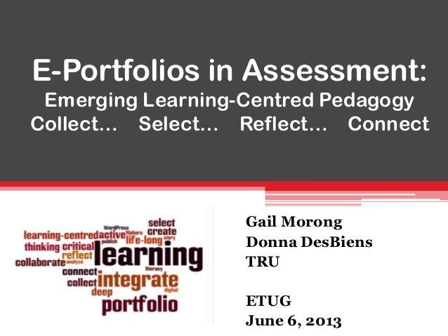E-Portfolios in Assessment:Emerging Learning-Centred PedagogyCollect… Select… Reflect… ConnectGail MorongDonna DesBiensTRU...