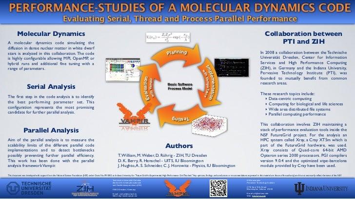 PERFORMANCE-STUDIES OF A MOLECULAR DYNAMICS CODE                                                           Evaluating Seri...