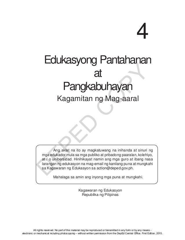 D EPED C O PY Edukasyong Pantahanan at Pangkabuhayan 4 Kagamitan ng Mag-aaral  Ang aklat na ito ay magkatuwang na inihand...