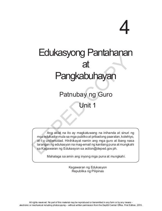 D EPED C O PY i Edukasyong Pantahanan at Pangkabuhayan 4 Patnubay ng Guro  Ang aklat na ito ay magkatuwang na inihanda at...