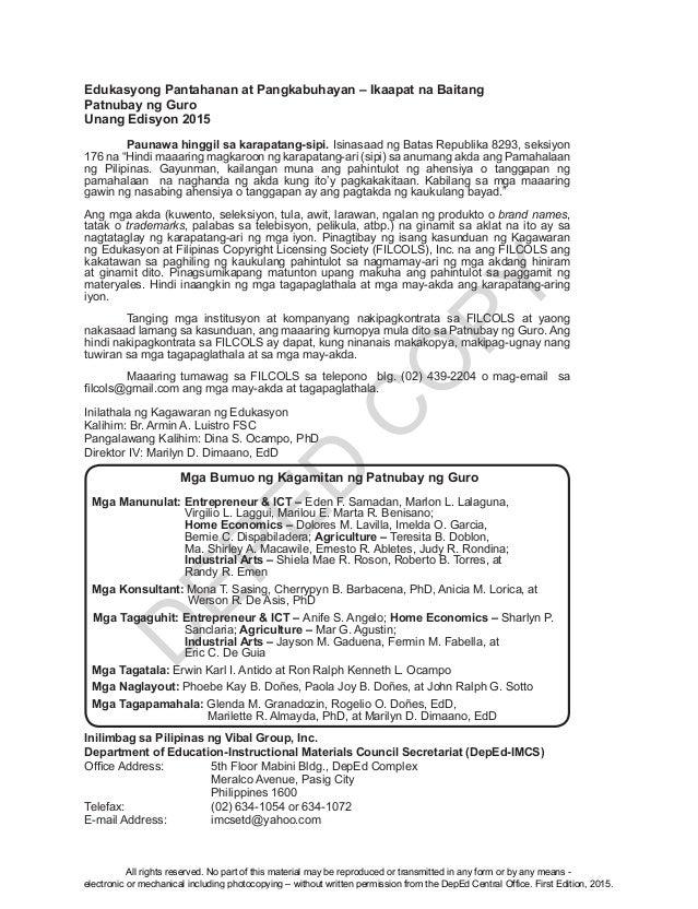 D EPED C O PY Edukasyong Pantahanan at Pangkabuhayan – Ikaapat na Baitang Patnubay ng Guro Unang Edisyon 2015  Paunawa hi...