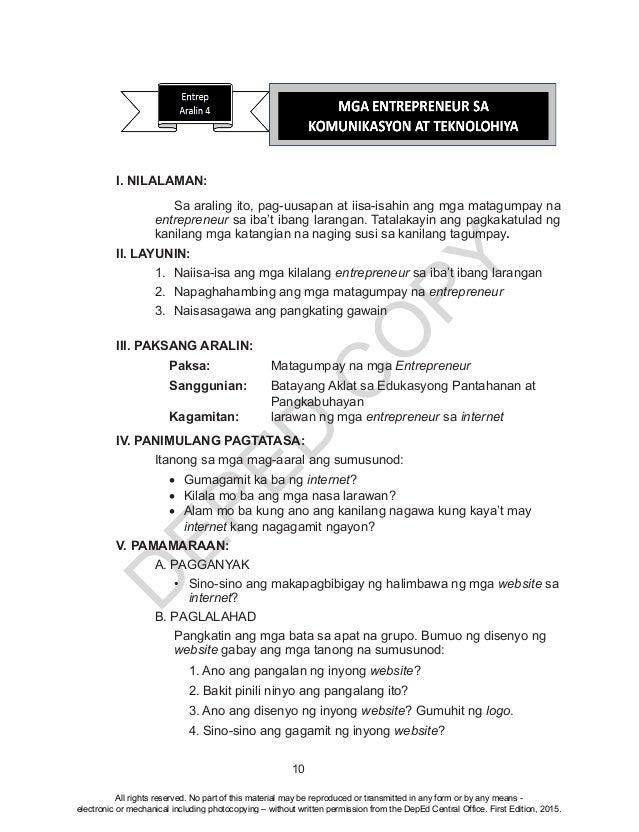 D EPED C O PY 10 I. NILALAMAN: Sa araling ito, pag-uusapan at iisa-isahin ang mga matagumpay na entrepreneur sa iba't iban...
