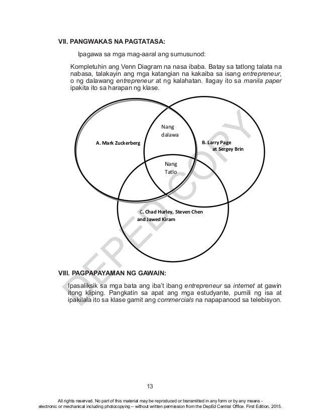D EPED C O PY 13 VII. PANGWAKAS NA PAGTATASA:  Ipagawa sa mga mag-aaral ang sumusunod: Kompletuhin ang Venn Diagram na na...