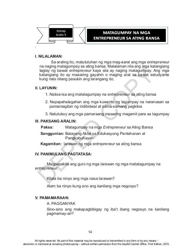 D EPED C O PY 14 ` I. NILALAMAN: Sa araling ito, matututuhan ng mga mag-aaral ang mga entrepreneur na naging matagumpay sa...