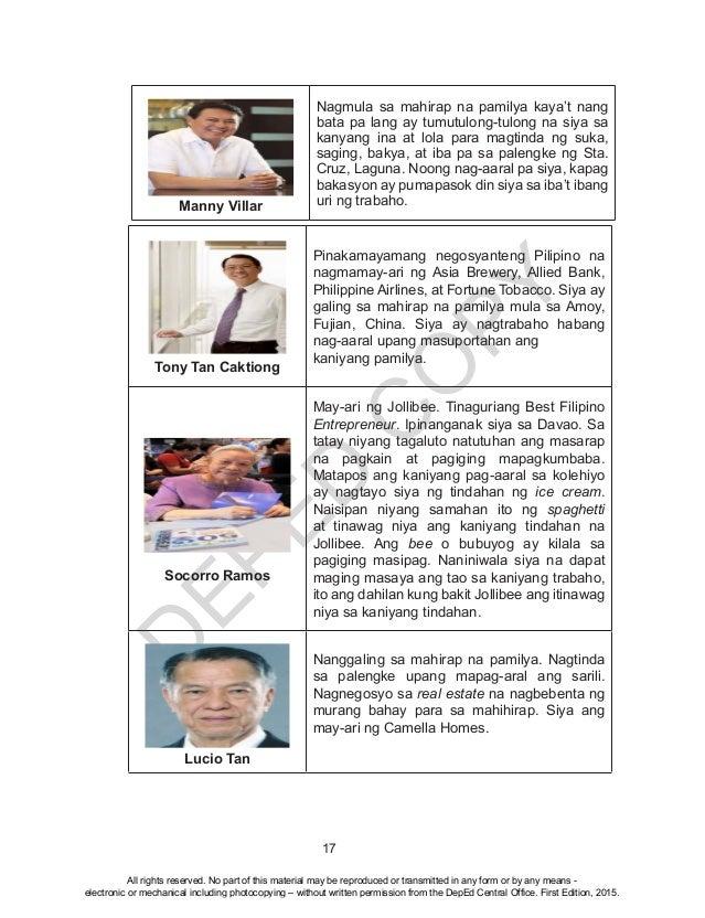 D EPED C O PY 17 Manny Villar Nagmula sa mahirap na pamilya kaya't nang bata pa lang ay tumutulong-tulong na siya sa kanya...