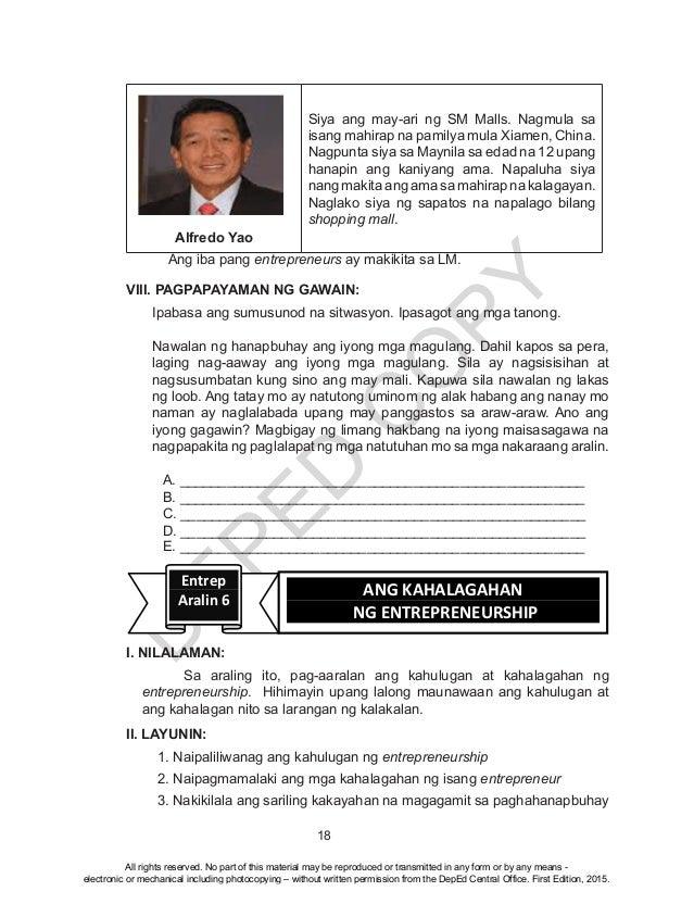 D EPED C O PY 18 Alfredo Yao Siya ang may-ari ng SM Malls. Nagmula sa isang mahirap na pamilya mula Xiamen, China. Nagpunt...