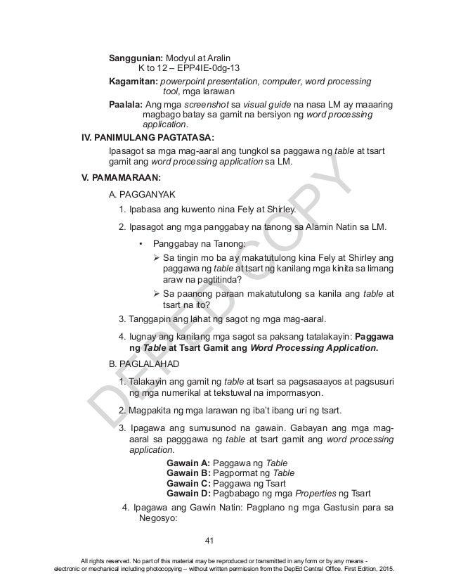 D EPED C O PY 41 Sanggunian: Modyul at Aralin  K to 12 – EPP4IE-0dg-13 Kagamitan: powerpoint presentation, computer, w...