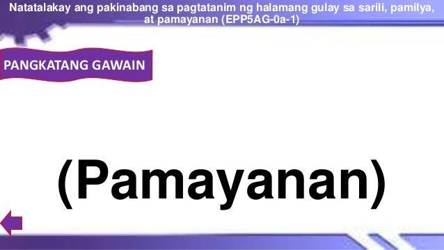 PANGKATANG GAWAIN (Pamayanan) Natatalakay ang pakinabang sa pagtatanim ng halamang gulay sa sarili, pamilya, at pamayanan ...