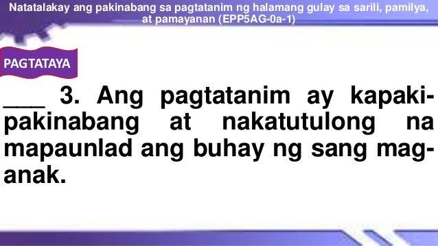 PAGTATAYA ___ 3. Ang pagtatanim ay kapaki- pakinabang at nakatutulong na mapaunlad ang buhay ng sang mag- anak. Natatalaka...