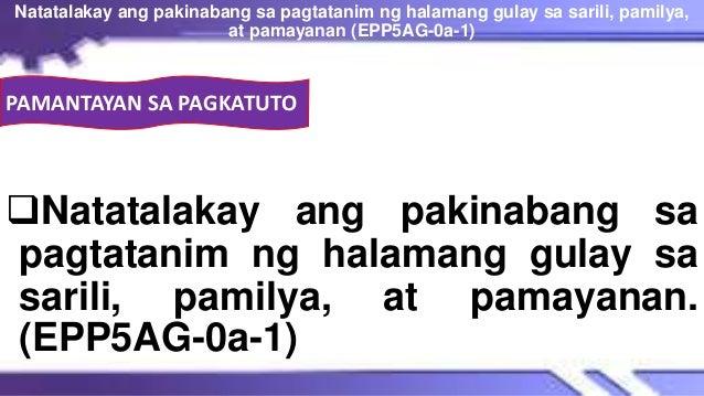 PAMANTAYAN SA PAGKATUTO Natatalakay ang pakinabang sa pagtatanim ng halamang gulay sa sarili, pamilya, at pamayanan. (EPP...