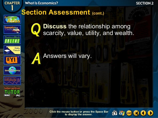 describe the relationship among scarcity value utility and wealth