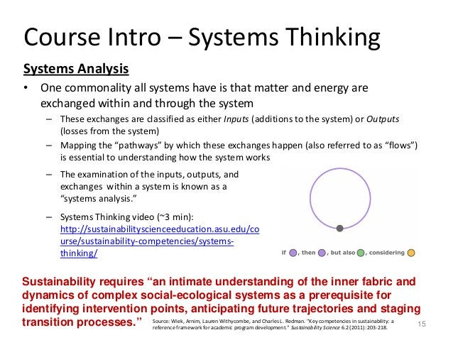Course Intro – Systems Thinking Systems Analysis • One commonality all systems have is that matter and energy are exchange...