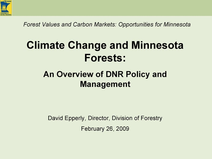 David Epperly, Director, Division of Forestry February 26, 2009 Climate Change and Minnesota Forests: An Overview of DNR P...