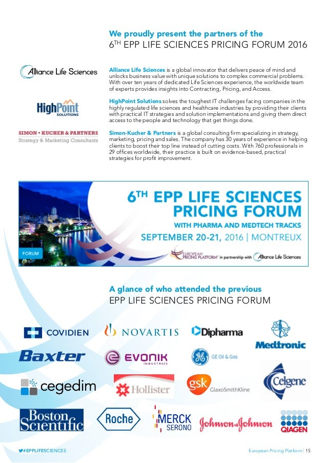 European Pricing Platform   15#EPPLIFESCIENCES We proudly present the partners of the 6th epp life sciences pricing forum ...