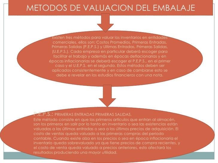 METODOS DE VALUACION DEL EMBALAJE<br />Existen tres métodos para valuar los inventarios en entidades comerciales, ellos so...