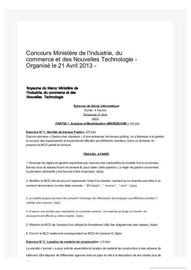 Concours Ministère de l'industrie, du commerce et des Nouvelles Technologie - Organisé le 21 Avril 2013 - Royaume du Maroc...