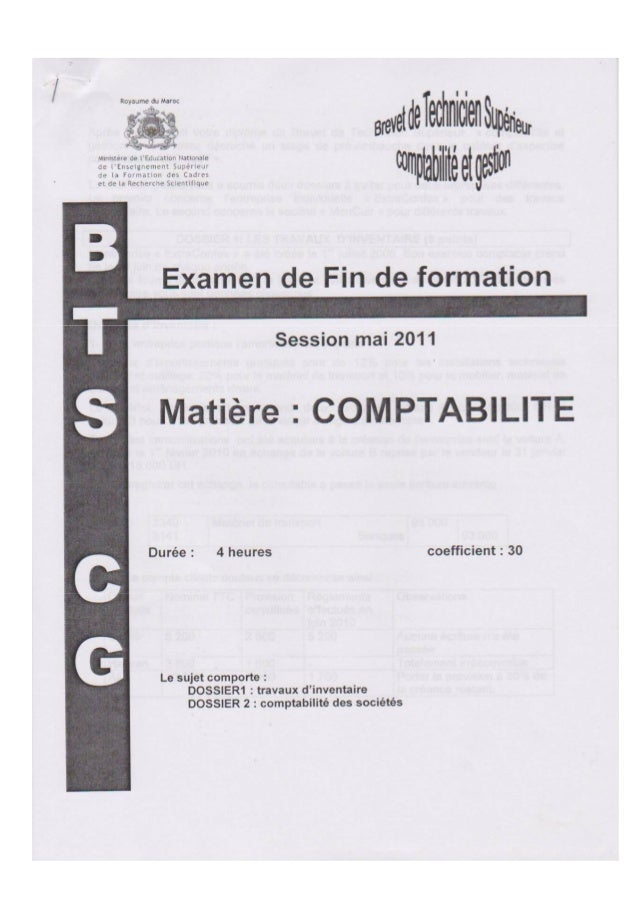 Epreuve de comptabilite bts-cg-mai 2011