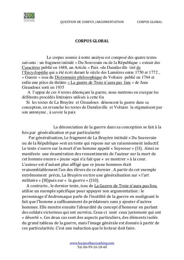 Question sur le corpus 1ère Français