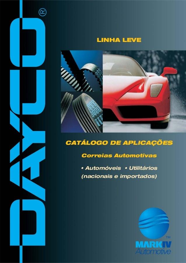 CATÁLOGO DE APLICAÇÕES Correias Automotivas • Automóveis • Utilitários (nacionais e importados) LINHA LEVE