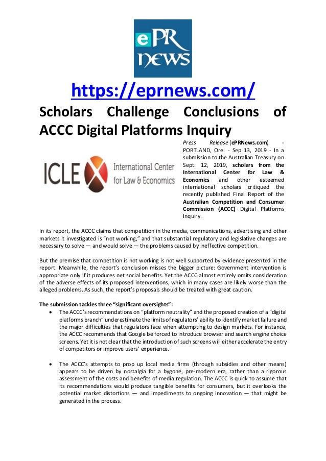 https://eprnews.com/ Scholars Challenge Conclusions of ACCC Digital Platforms Inquiry Press Release (ePRNews.com) - PORTLA...