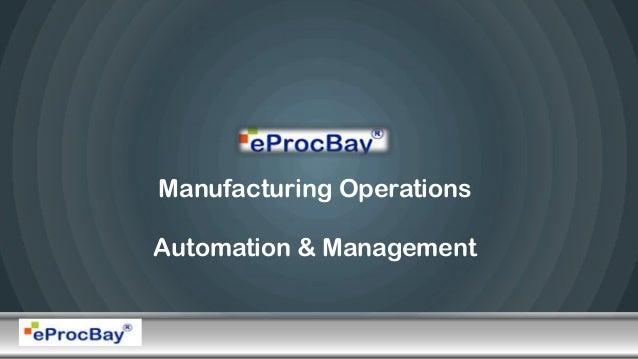 Manufacturing OperationsAutomation & Management