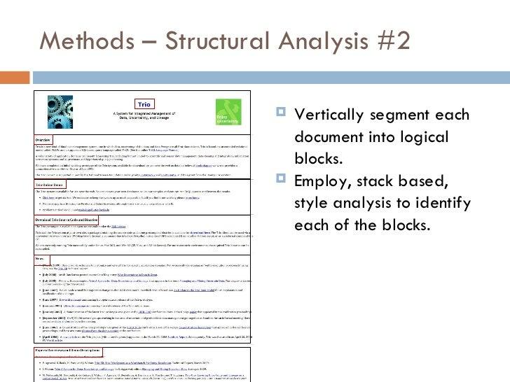 Methods – Structural Analysis #2 <ul><li>Vertically segment each document into logical blocks. </li></ul><ul><li>Employ, s...