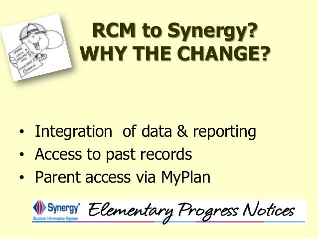 elementary progress report 2 rcm to synergy