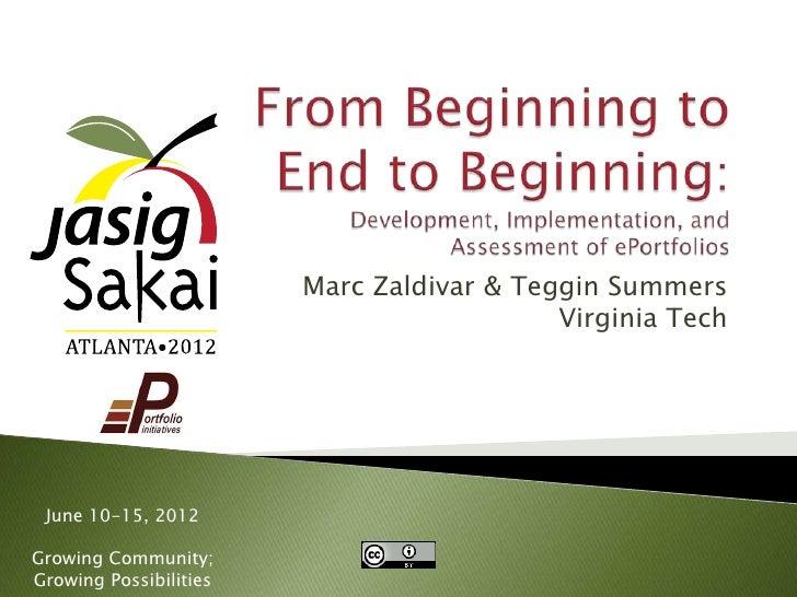 Marc Zaldivar & Teggin Summers                                           Virginia Tech June 10-15, 2012Growing Community;G...