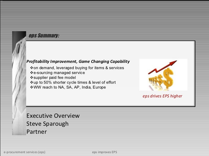 Profitability Improvement, Game Changing Capability Executive Overview Steve Sparough Partner eps Summary: eps drives EPS ...